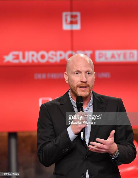 Matthias Sammer gestures during the Eurosport Bundesliga Media Day on August 16 2017 in Unterfohring Germany