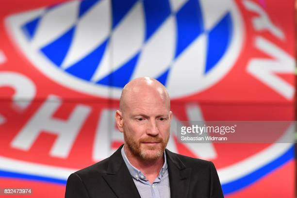 Matthias Sammer looks down during the Eurosport Bundesliga Media Day on August 16 2017 in Unterfohring Germany