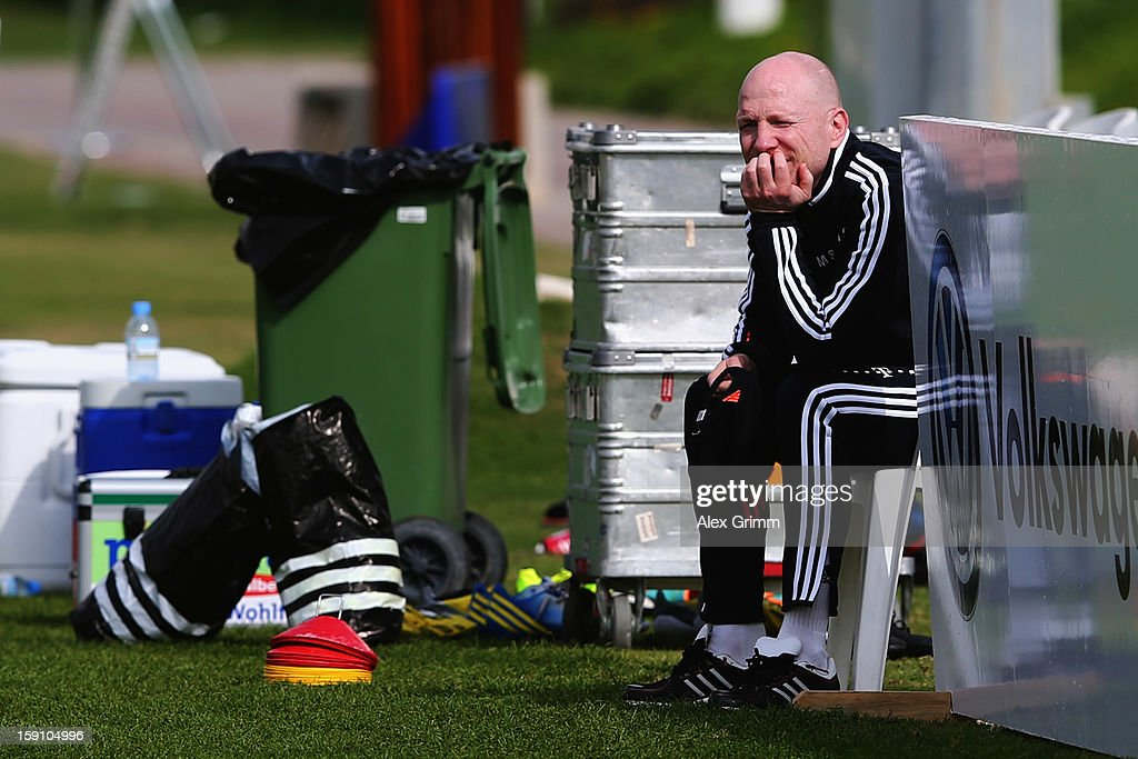 Matthias Sammer looks on during a Bayern Muenchen training session at the ASPIRE Academy for Sports Excellence on January 8, 2013 in Doha, Qatar.
