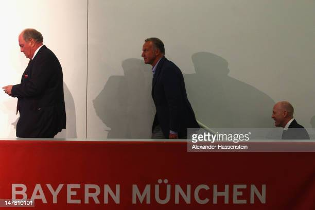Matthias Sammer new Senior Executive President Sport of FC Bayern Muenchen arrives with Uli Hoeness President of FC Bayern Muenchen and KarlHeinz...