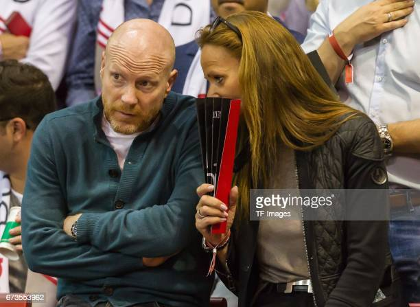 Matthias Sammer speak with Karen Sammer during the easyCredit BBL match between FC Bayern Muenchen and Telekom Baskets Bonn at Audi Dome on April 13...