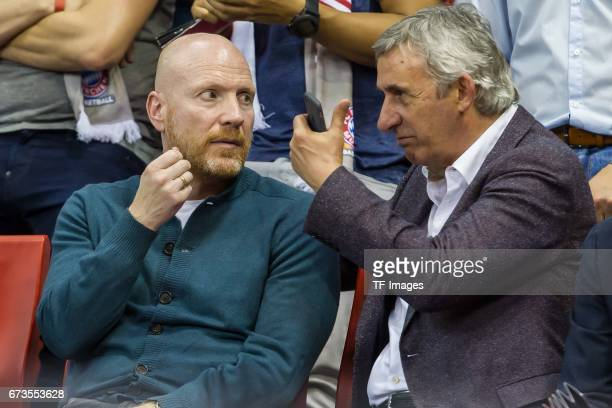Matthias Sammer speak with Svetislav Pesic during the easyCredit BBL match between FC Bayern Muenchen and Telekom Baskets Bonn at Audi Dome on April...