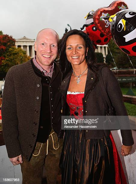 Matthias Sammer sporting director of FC Bayern Muenchen attends with his wife Karin Sammer the Oktoberfest beer festival at the Kaefer Wiesnschaenke...