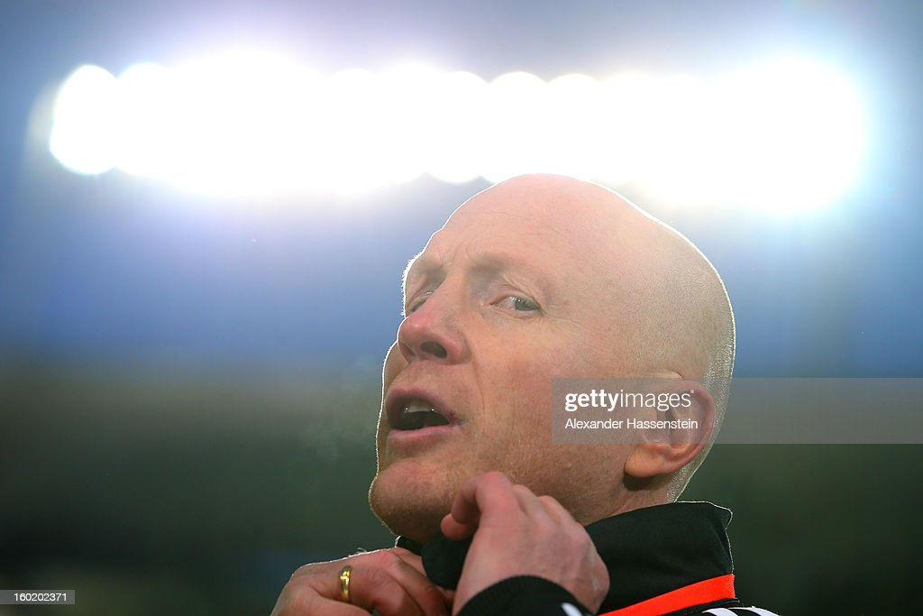 <a gi-track='captionPersonalityLinkClicked' href=/galleries/search?phrase=Matthias+Sammer&family=editorial&specificpeople=555228 ng-click='$event.stopPropagation()'>Matthias Sammer</a>, sporting Director of Muenchenlooks on prior the Bundesliga match between VfB Stuttgart and FC Bayern Muenchen at Mercedes-Benz Arena on January 27, 2013 in Stuttgart, Germany.