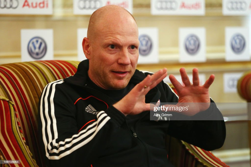 <a gi-track='captionPersonalityLinkClicked' href=/galleries/search?phrase=Matthias+Sammer&family=editorial&specificpeople=555228 ng-click='$event.stopPropagation()'>Matthias Sammer</a> talks to the media during a Bayern Muenchen press conference at the Grand Heritage Hotel on January 8, 2013 in Doha, Qatar.