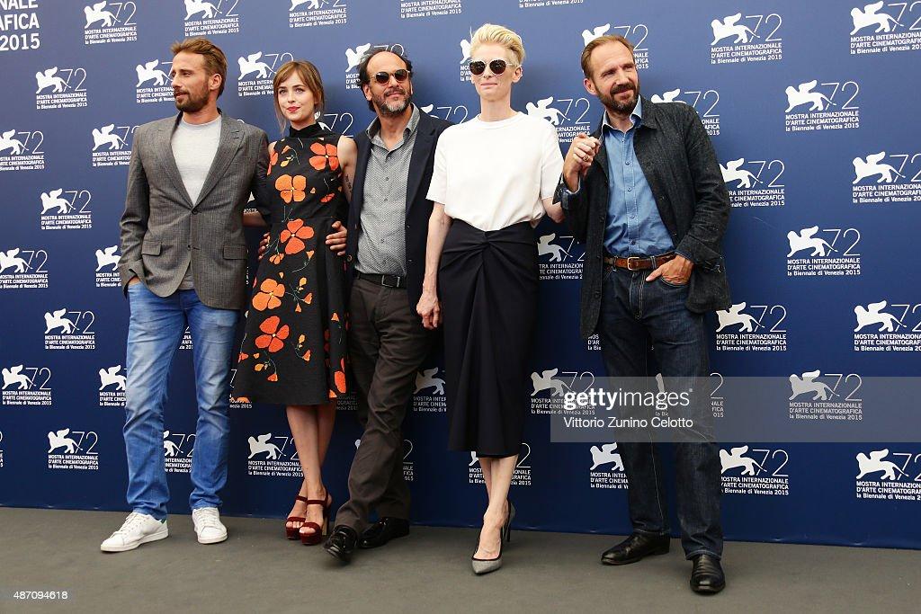 Matthias Schoenaerts, Dakota Johnson, Luca Guadagnino, Tilda Swinton and Ralph Fiennes attend a photocall for 'A Bigger Splash' during the 72nd Venice Film Festival at Palazzo del Casino on September 6, 2015 in Venice, Italy.