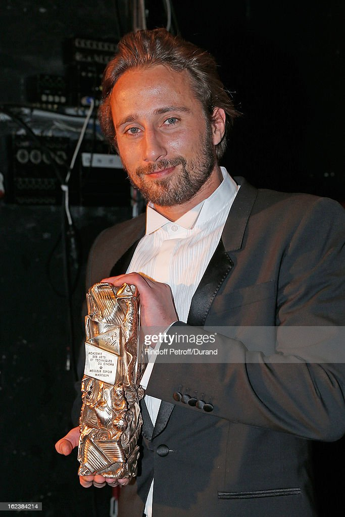 <a gi-track='captionPersonalityLinkClicked' href=/galleries/search?phrase=Matthias+Schoenaerts&family=editorial&specificpeople=6259320 ng-click='$event.stopPropagation()'>Matthias Schoenaerts</a> poses backstage with his Cesar award for best young actor during the Cesar Film Awards 2013 at Theatre du Chatelet on February 22, 2013 in Paris, France.