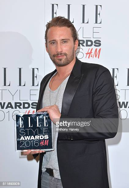Matthias Schoenaerts poses with his award for Actor of The Year in the winners room at The Elle Style Awards 2016 on February 23 2016 in London...