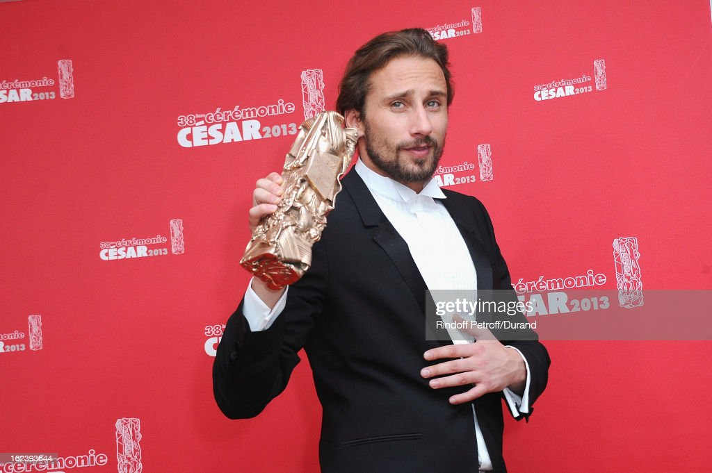 Matthias Schoenaerts poses with his trophy after receiving the Best Newcomer Actor award during the Cesar Film Awards 2013 at Theatre du Chatelet on February 22, 2013 in Paris, France.