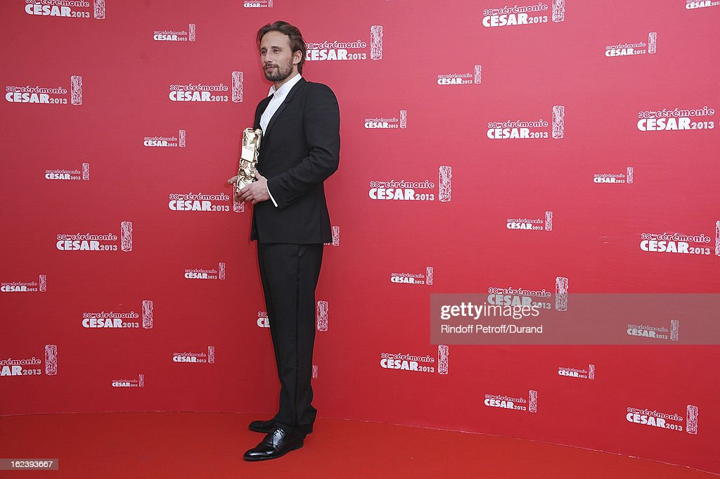 <a gi-track='captionPersonalityLinkClicked' href=/galleries/search?phrase=Matthias+Schoenaerts&family=editorial&specificpeople=6259320 ng-click='$event.stopPropagation()'>Matthias Schoenaerts</a> poses with his trophy after receiving the Best Newcomer Actor award during the Cesar Film Awards 2013 at Theatre du Chatelet on February 22, 2013 in Paris, France.