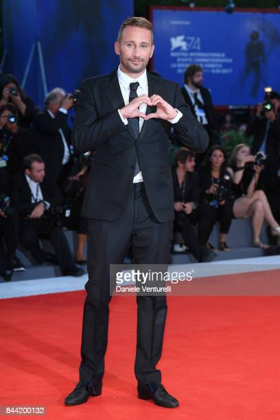 Matthias Schoenaerts walks the red carpet ahead of the 'Racer And The Jailbird ' screening during the 74th Venice Film Festival at Sala Grande on...