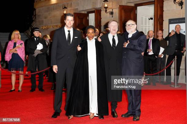 Matthias Schulz incoming director of Staatsoper Marius MuellerWesternhagen and his partner Lindiwe Suttle and Juergen Flimm outgoing director of...