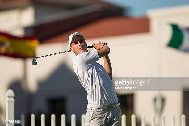 Matthias Schwab of Austria from the European Team tees off at hole 10 during the afternoon mixed fourball for the 8th Junior Ryder Cup at Olympia...