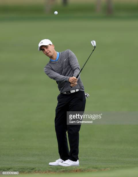 Matthias Schwab of Austria plays a shot during a practice round for the Arnold Palmer Invitational Presented By MasterCard at the Bay Hill Club and...