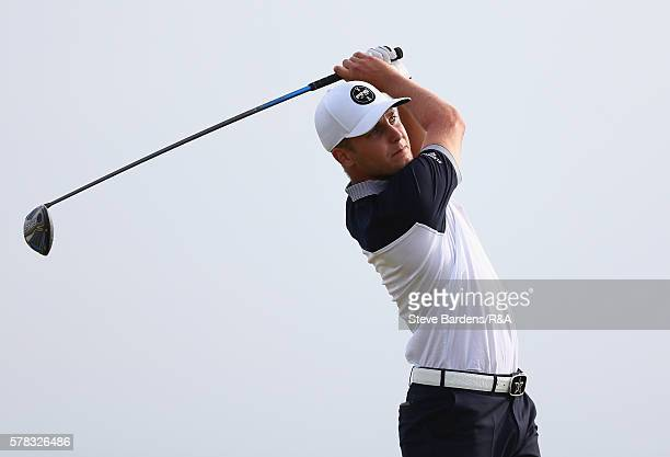 Matthias Schwab of Austria tees off during the 4th round of the St Andrews Trophy at Prince's Golf Club on July 28 2016 in Deal England
