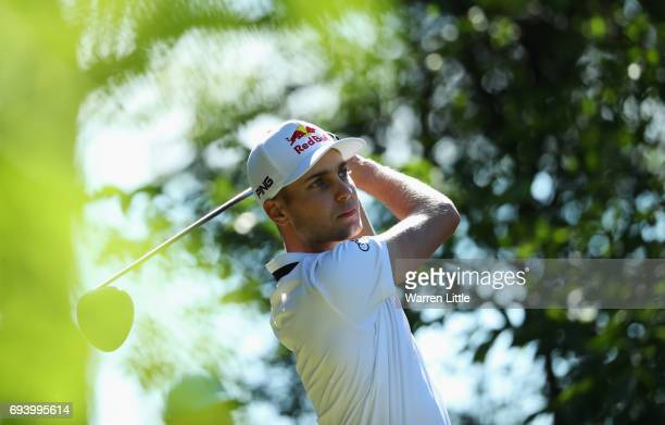 Matthias Schwab of Austria tees off on the 15th hole during day two of the Lyoness Open at Diamond Country Club on June 9 2017 in Atzenbrugg Austria