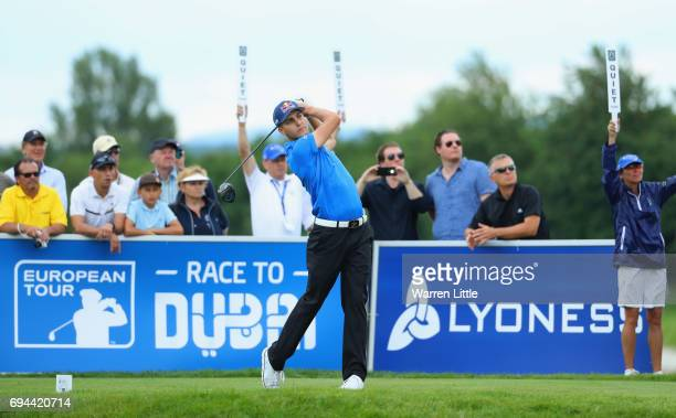 Matthias Schwab of Austria tees off on the 8th hole during day three of the Lyoness Open at Diamond Country Club on June 10 2017 in Atzenbrugg Austria
