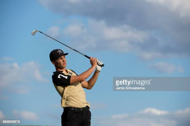 Matthias Schwab of Vanderbilt University tees off during the Division I Men's Golf Individual Championship held at Rich Harvest Farms on May 29 2017...