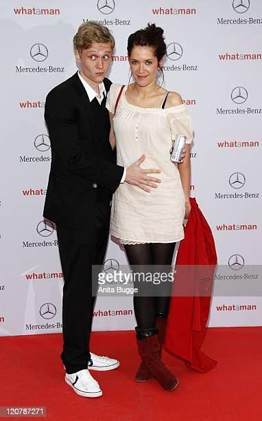Matthias Schweighoefer and Ani Schromm attend the 'What a man' premiere at the Cinestar movie theater on August 10 2011 in Berlin Germany