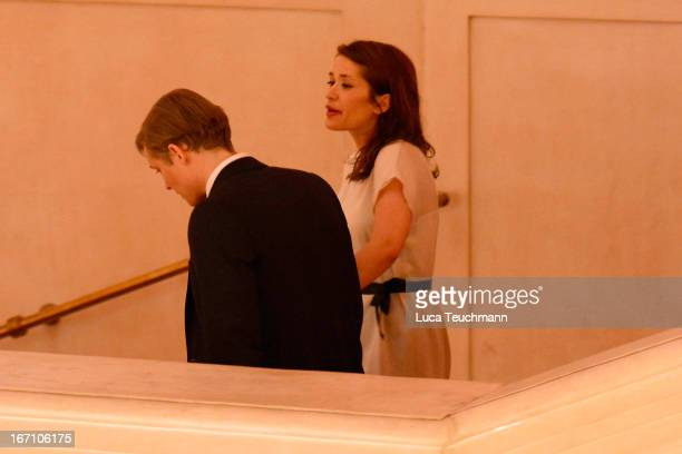 Matthias Schweighoefer and Ani Schromm seen leaving the 'Romy Award 2013 Aftershow' at Hofburg Vienna on April 20 2013 in Vienna Austria