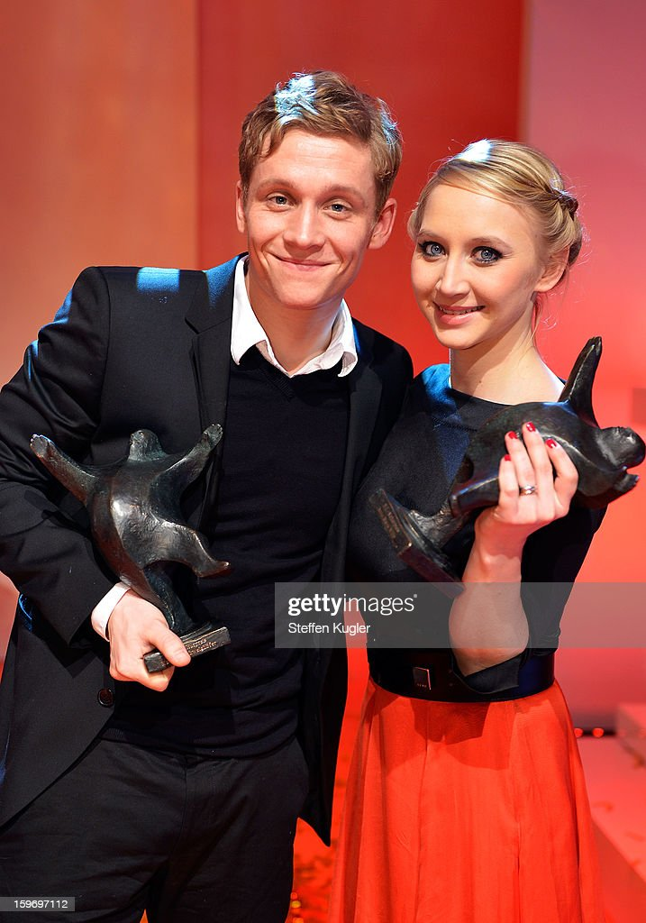 Matthias Schweighoefer and Anna Maria Muehe pose with their awards after the show at the B.Z. Kulturpreis on January 18, 2013 in Berlin, Germany.