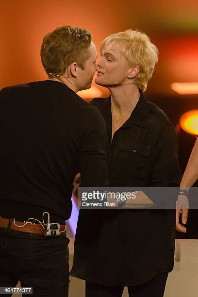Matthias Schweighoefer and Erika Eleniak attend the taping of 'Back To School Gottschalks grosses Klassentreffen' Show on January 23 2014 in Berlin...