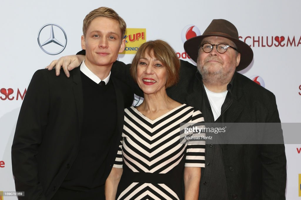 Matthias Schweighoefer and his parents <a gi-track='captionPersonalityLinkClicked' href=/galleries/search?phrase=Gitta+Schweighoefer&family=editorial&specificpeople=4362787 ng-click='$event.stopPropagation()'>Gitta Schweighoefer</a> and Michael Schweighoefer attend the 'Der Schlussmacher' Berlin Premiere at Cinestar Potsdamer Platz on January 7, 2013 in Berlin, Germany.
