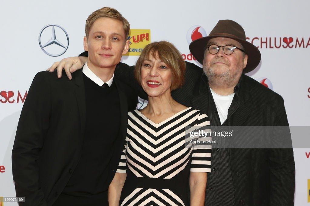 Matthias Schweighoefer and his parents Gitta Schweighoefer and Michael Schweighoefer attend the 'Der Schlussmacher' Berlin Premiere at Cinestar Potsdamer Platz on January 7, 2013 in Berlin, Germany.