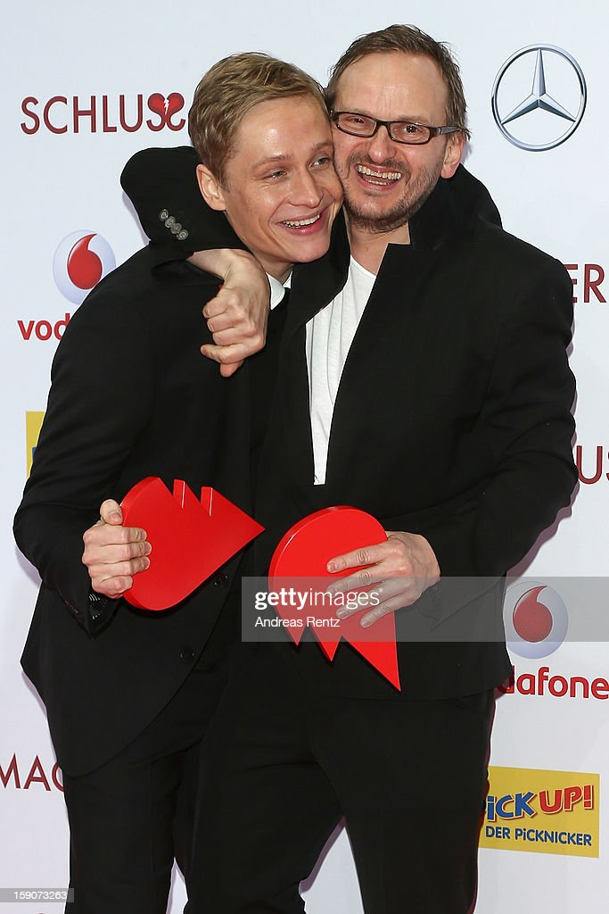 Matthias Schweighoefer and Milan Peschel attend the 'Der Schlussmacher' Berlin Premiere at Cinestar Potsdamer Platz on January 7, 2013 in Berlin, Germany.