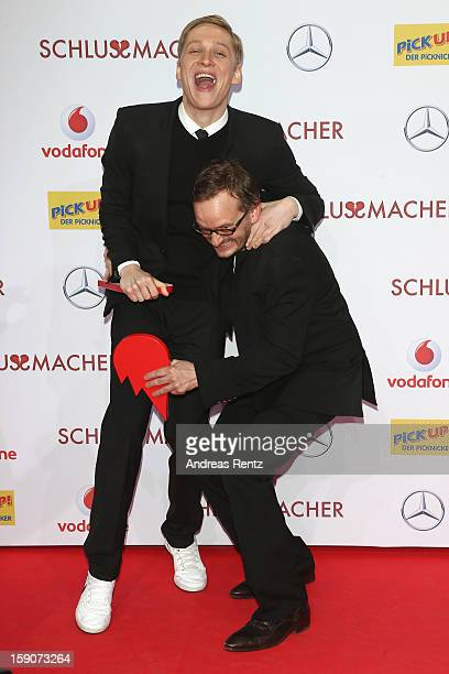 Matthias Schweighoefer and Milan Peschel attend the 'Der Schlussmacher' Berlin Premiere at Cinestar Potsdamer Platz on January 7 2013 in Berlin...