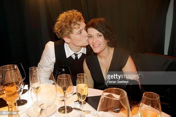 Matthias Schweighoefer and partner Anni Schromm attend the Goldene Kamera 2010 Award at the Axel Springer Verlag on January 30 2010 in Berlin Germany