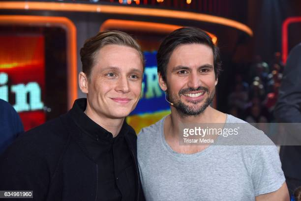 Matthias Schweighoefer and Tom Beck attend the 'Klein gegen Gross' TV Show on February 12 2017 in Berlin Germany