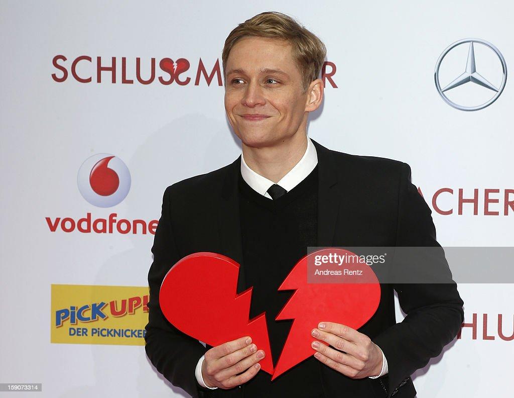 Matthias Schweighoefer attends the 'Der Schlussmacher' Berlin Premiere at Cinestar Potsdamer Platz on January 7, 2013 in Berlin, Germany.