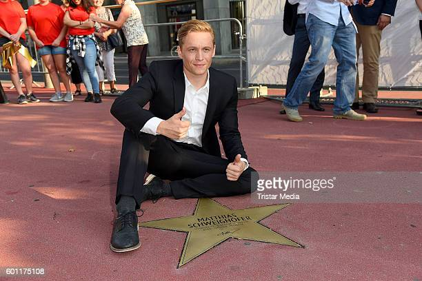 Matthias Schweighoefer attends the New Stars At The 'Boulevard der Stars' on September 9 2016 in Berlin Germany Unlike the Hollywood Walk of Fame the...