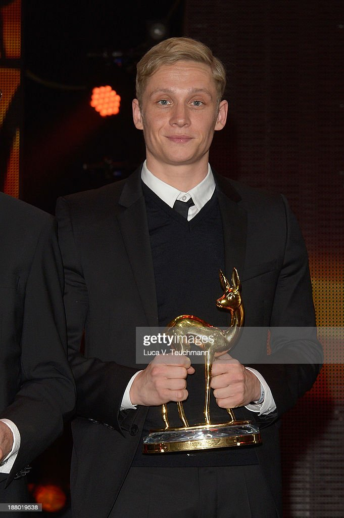 Matthias Schweighoefer poses on stage at the Bambi Awards 2013 at Stage Theater on November 14, 2013 in Berlin, Germany.