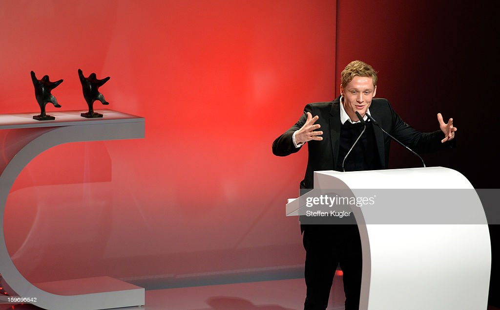 Matthias Schweighoefer thanks the audience after receiving the B.Z. Kulturpreis on January 18, 2013 in Berlin, Germany.