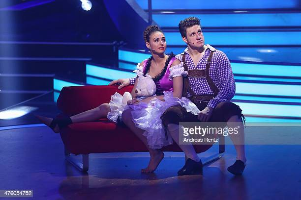 Matthias Steiner and Ekaterina Leonova react after her injury during the final show of the television competition 'Let's Dance' on June 5 2015 in...