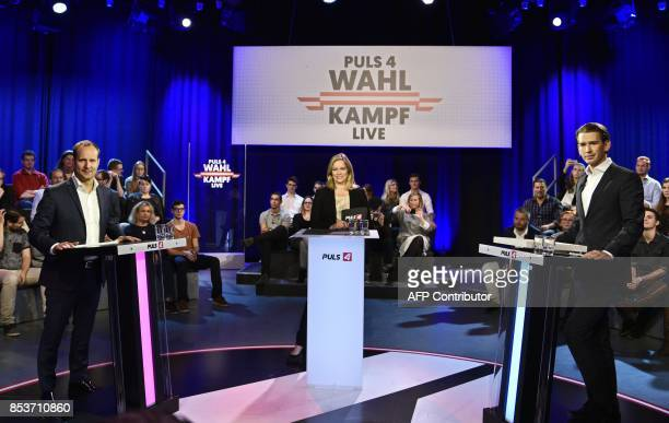Matthias Strolz Corinna Milborn and Sebastian Kurz take part in a television debate for Austria's national election in Vienna on September 25 2017 /...