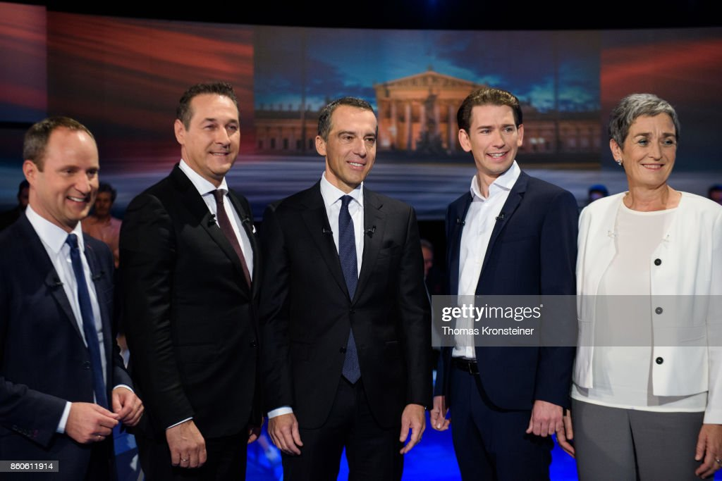 Matthias Strolz of the Austrian liberal party (NEOS), Heinz-Christian Strache of the right-wing Austrian Freedom Party (FPOe), Austrian Chancellor Christian Kern of the Social Democratic Party (SPOe), Austrian Foreign Minister Sebastian Kurz of Austrian Peoples Party (OeVP) and Ulrike Lunacek of the Austrian green party (Die Gruenen) are seen at ORF studios ahead the 'Elefantenrunde' television debate between the lead candidates prior to legislative elections on October 12, 2017 in Vienna, Austria. Austria will hold elections on October 15 and many analysts are predicting a win for the conservative Austrian People's Party (OeVP) of Sebastian Kurz, though that the next government coalition will very likely include the right-wing Austria Freedom Party (FPOe).