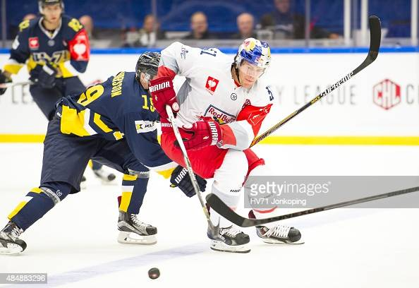 Matthias Trattnig of Red Bull Salzburg in action during the Champions Hockey League group stage game between HV71 Jonkoping and Red Bull Salzburg on...