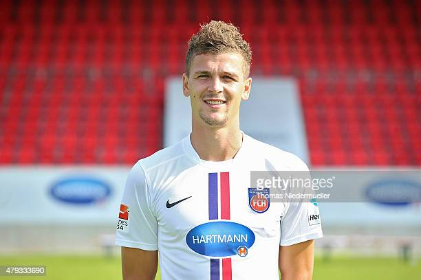 Matthias Wittek poses during the 1 FC Heidenheim team presentation at VoithArena on July 3 2015 in Heidenheim Germany