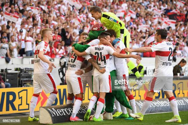 Matthias Zimmermann of Stuttgart celebrates scoring the opening goal with his team mates during the Second Bundesliga match between VfB Stuttgart and...
