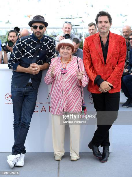 Matthieu Chedid Agnes Varda and JR attend the 'Faces Places ' photocall during the 70th annual Cannes Film Festival at Palais des Festivals on May 19...