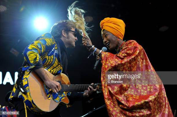 Matthieu Chedid and Fatoumata Diawarra of Lamomali perform on stage during Day 3 of the Womad Festival at Charlton Park on July 29 2017 in Wiltshire...