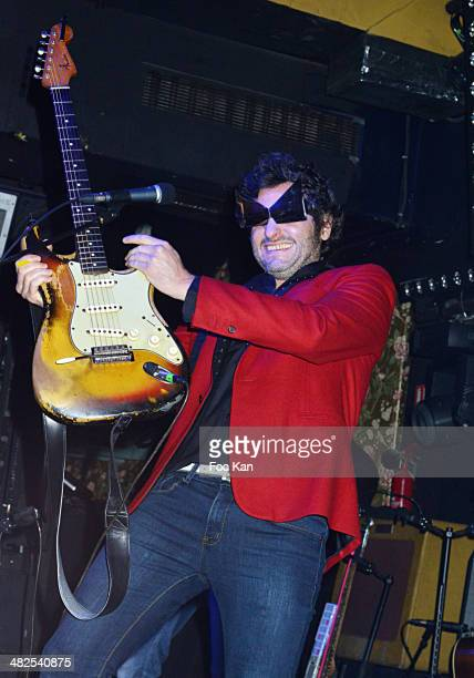 Matthieu Chedid performs during the Matthieu Chedid In Concert at the Bus Palladium Anniversary Party on April 3 2014 in Paris France