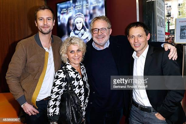 Matthieu Delormeau Guest Dominique Segall and Marc Olivier Fogiel attend the '24 Jours' Paris Premiere at Cinema Gaumont Marignan on April 10 2014 in...
