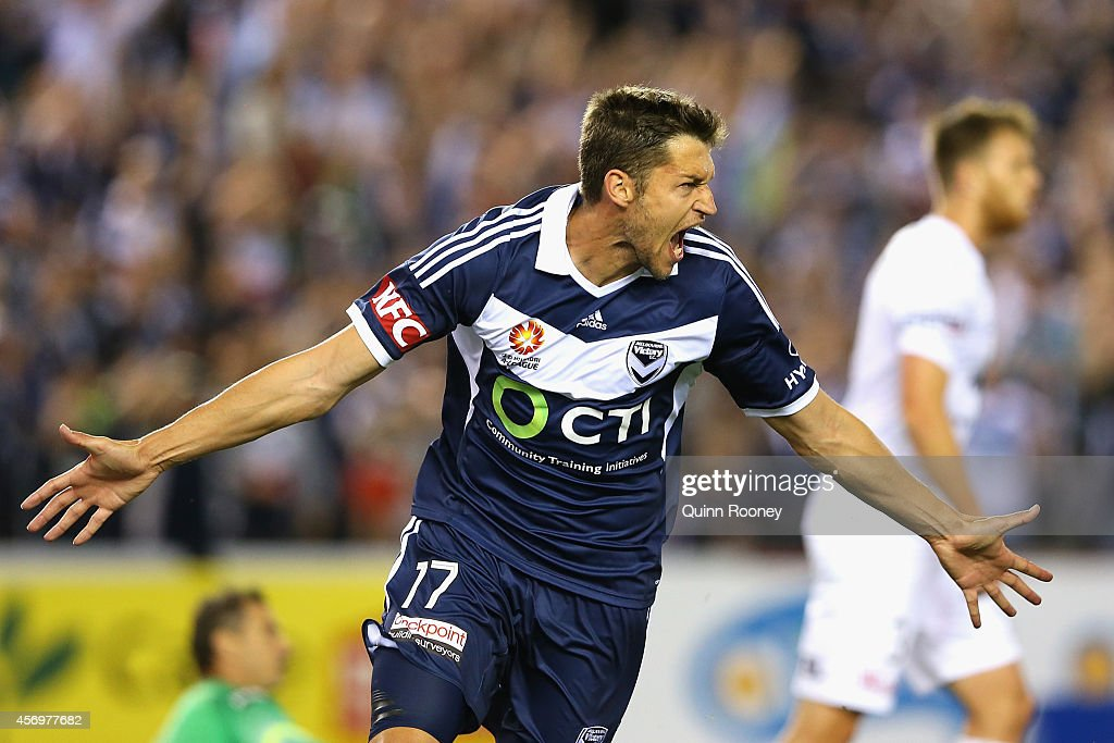Matthieu Delpierre of the Victory celebrates scoring a goal during the round one ALeague match between Melbourne Victory and the Western Sydney...