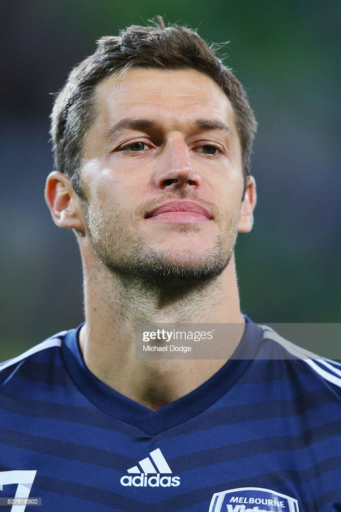 Matthieu Delpierre of the Victory looks on during the AFC Champions League match between Melbourne Victory and Gamba Osaka at AAMI Park on May 3, 2016 in Melbourne, Australia.