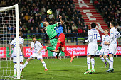 Matthieu Dreyer of Troyes and Ala Eddine Yahia of Caen during the French Ligue 1 match between SM Caen and ESTAC Troyes at Stade Michel D'Ornano on...