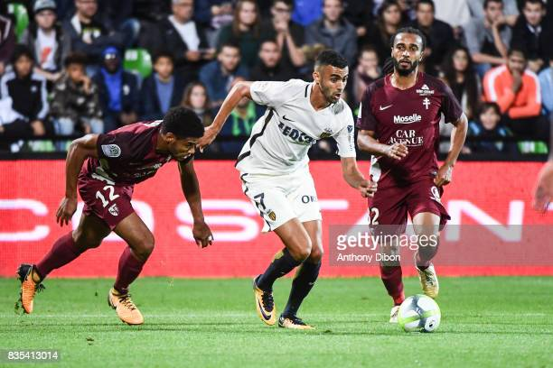 Matthieu Udol of Metz Rachid Ghezzal of Monaco and Benoit Assou Ekotto of Metz during the Ligue 1 match between FC Metz and AS Monaco on August 18...